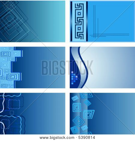 Collection Of Blue Bizness-cards. Vector Illustration