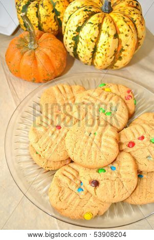 Peanut Butter Cookies with Fall Pumpkins