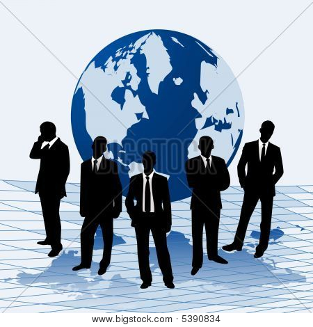 Vector Illustration Businessmen Against A Map Of World
