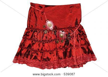 Red Children Girl Skirt Isolated