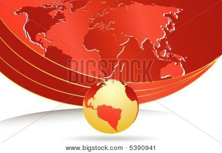 Vector Business Template With World Map.eps