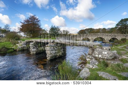 Two Biridges At Postbridge On Dartmoor