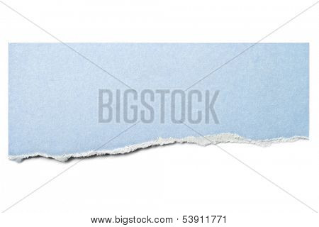 Pastel blue paper tear isolated on white with soft shadow.