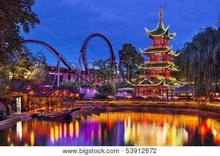 COPENHAGEN - SEPTEMBER 15: Tivoli Gardens September 15, 2013 in Copenhagen, Denmark. The amusement park is the second oldest in the world.
