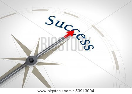 An image of a nice blue compass with the word success