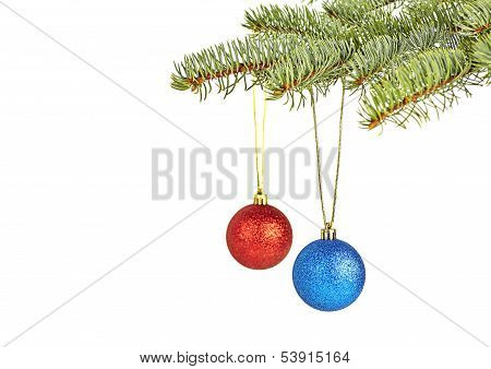 Christmas Decoration On  White Background.selective Focus