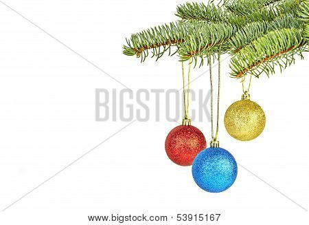 Christmas Decoration. Christmas Tree And Colored Balls On White Background. Selective Focus