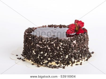 Birthday cake on a blur white warm background, selective focus to the middle, central position