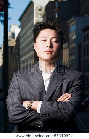 Portrait of serious businessman