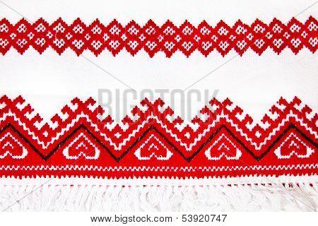 Ukrainian National Ornament Embroidery Closeup