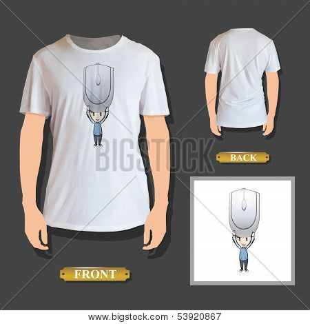 Kid Holding Computer Mouse Printed On T-shirt. Vector Design.