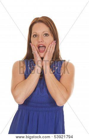 Woman Blue Dress Hands On Cheeks
