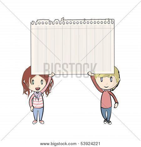 Kids Holding A Note Paper On White Background. Vector Design.