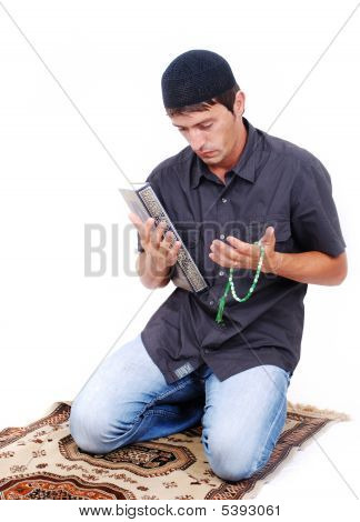 Muslim Man Is Praying On Traditional Way