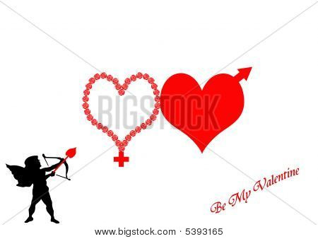 Hearts With Male And Female Symbols