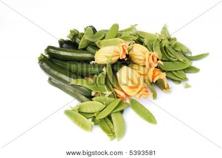 Pile Of Courgettes & Sugar snap Peas