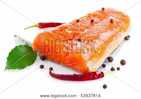 Fresh Salmon Fillet With Salt And Spice