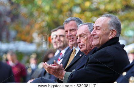 Charles Schumer, Mike Bloomberg & Bill De Blasio
