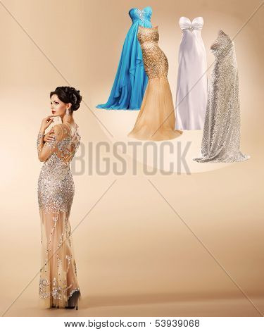Young Woman Thinking Which Dress To Wear On New Year's Party