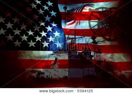 Usa Patriot Flag And War