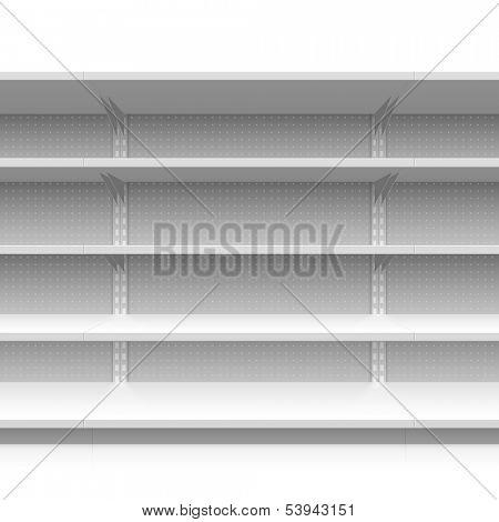 Empty supermarket shelves. Vector.