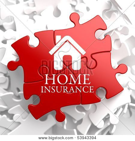 Insurance - Home Icon on Red Puzzle.