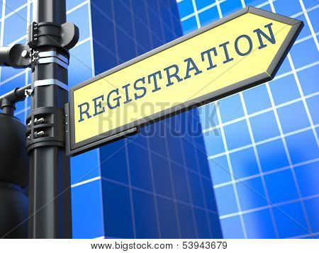 Registration. Yellow Roadsign.