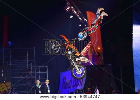 MOSCOW - MAR 02: Jump rider on the festival extreme sports Breakthrough 2013 in the arena of the Olympic Sports Complex, on March 02, 2013 in Moscow, Russia.