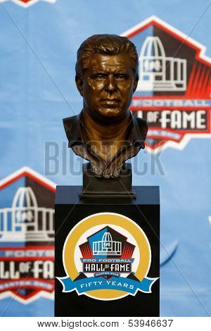 CANTON, OH-AUG 3: The bust of former head coach Bill Parcells on display during the NFL Class of 2013 Enshrinement Ceremony at Fawcett Stadium on August 3, 2013 in Canton, Ohio.