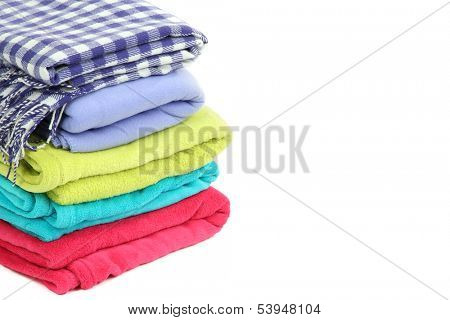 Colorful plaids isolated on white