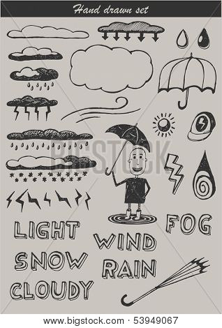 Hand drawn set - weather icons