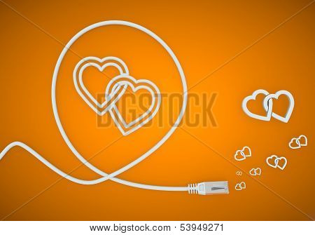 3D Graphic Of A Playful Two Hearts Icon Formed By An Cable