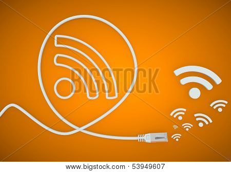 Illustration Of A Creative Wifi Symbol Formed By An Cable