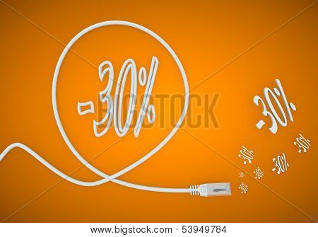 Illustration Of A -30 Discount Symbol Formed By An Cable
