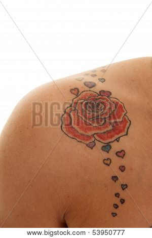 Tattoo Close Rose On Shoulder
