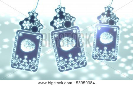 Three Christmas Labels With Brain Sticker