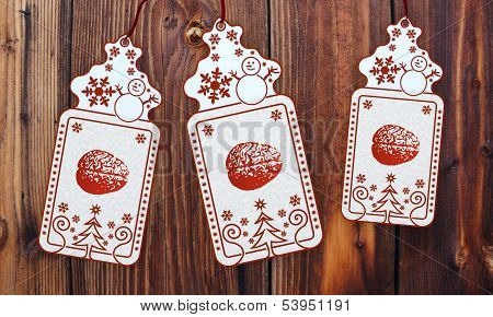 Three Christmas Cards With Brain Sticker