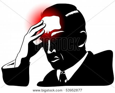 Silhouette Of Man With Headache