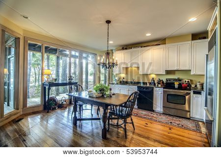large kitchen with big view windows