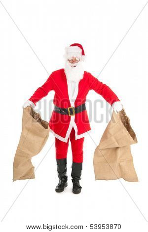 Poor Santa Claus with empty bags cause the recession