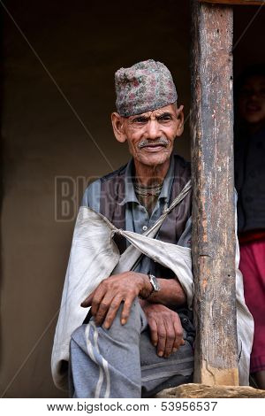 Portrait of an old Gurung Sherpa in the Himalayas, Nepal