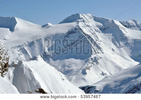 Beautiful mountain massif covered in snow at winter