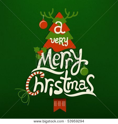 Christmas Greeting Card. Merry Christmas lettering