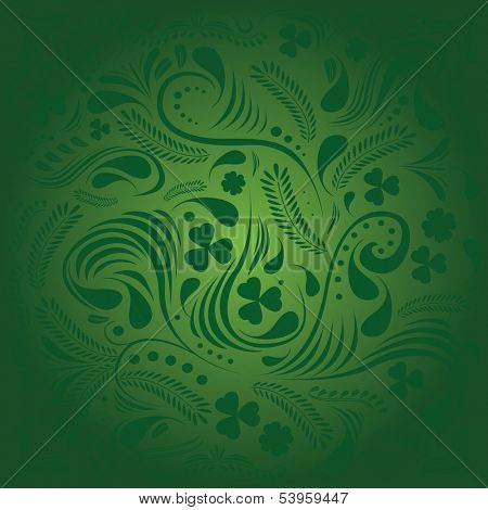 St. Patrick's day background with floral ornament in green colors