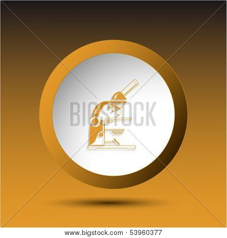 Lab microscope. Plastic button. Vector illustration.
