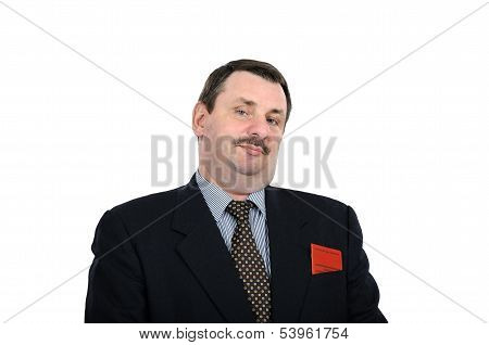Chubby Man In A Black Suit