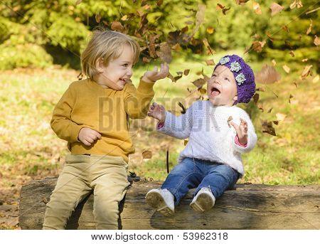 Children In Autumn Forest