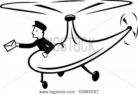Mail delivery by a holicopter