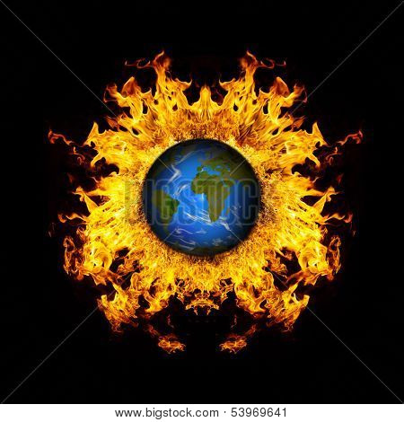 Apocalyptic background - planet Earth exploding, armageddon illustration, end of time.