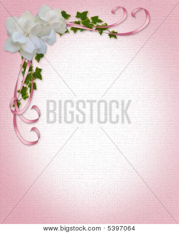 Gardenias Pink Ribbons Wedding Border Stock photo